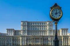 El edificio del parlamento en Bucarest Rumania también llamó a Casa Poporulu Imágenes de archivo libres de regalías