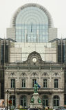 El edificio del Parlamento Europeo en Bruselas, de la ruda du Luxemburgo Fotos de archivo