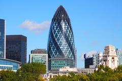 El edificio del pepinillo en Londres Fotos de archivo