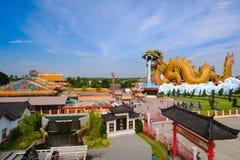 El edificio en la ciudad de China en Dragon Museum es señal para el chino tailandés Imagen de archivo