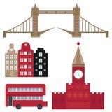 El edificio famoso y el euro del viaje del turismo del diseño euro del viaje se aventuran el ejemplo internacional del vector Imágenes de archivo libres de regalías