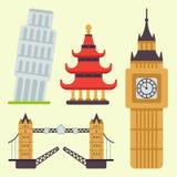 El edificio famoso y el euro del viaje del turismo del diseño euro del viaje se aventuran el ejemplo internacional del vector stock de ilustración