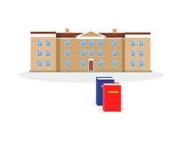 El edificio y el libro de la universidad diseñan completamente libre illustration
