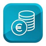El efectivo acu?a el icono euro Bot?n azul Vector Eps10 stock de ilustración