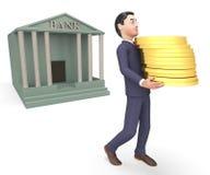 El efectivo del banco representa la representación de Person And Executive 3d del negocio Fotos de archivo libres de regalías