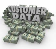 El efectivo del dinero de las palabras de los datos 3d del cliente apila el contacto valioso de las pilas Imagen de archivo