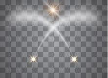 El efecto ligero del resplandor protagoniza explosiones con las chispas aisladas en fondo transparente Modelo abstracto de la Nav ilustración del vector