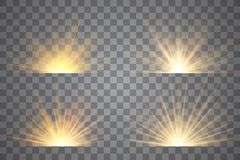 El efecto luminoso protagoniza explosiones Salida del sol, amanecer stock de ilustración