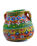 El egipcio handcrafted adornó el tarro de cerámica artístico en el CCB blanco Foto de archivo libre de regalías