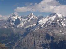 El Eiger, el Monoch, y el Jungfrau, del Shilthorn Imagenes de archivo