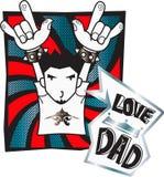 El eje de balancín del muchacho dice aspecto del papá del amor de i con la roca Fotografía de archivo