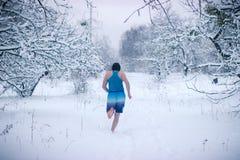 El ejecutarse en la nieve Fotos de archivo