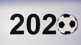 El ejemplo, Año Nuevo, la mano masculina puso la tabla en el balón de fútbol, 2020 ilustración del vector