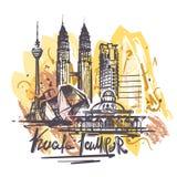 El ejemplo abstracto del dibujo del color del lampur de Kuala aisló ilustración del vector