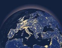 El ejemplo abstracto del vector de la ciudad de la tierra enciende el globo con cierre para arriba del continente de Europa stock de ilustración