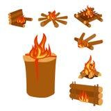 El ejemplo aislado de los registros de la hoguera que queman la hoguera y la leña apilan vector ilustración del vector