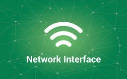 El ejemplo blanco del texto del interfaz de red con la constelación verde como fondo y la señal barran el icono Imágenes de archivo libres de regalías