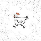 El ejemplo blanco feliz del tiempo de Pascua del día de fiesta de la primavera de la gallina en blanco punteó el fondo Imagenes de archivo