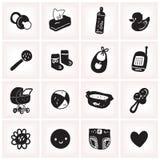 El ejemplo blanco y negro del vector fijó con los iconos incompletos del cuadrado del bebé Imagenes de archivo