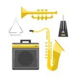 El ejemplo clásico del vector del instrumento de los sonidos de la música del icono del saxofón y la banda de oro del entretenimi Foto de archivo libre de regalías