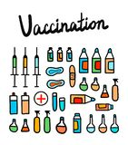 El ejemplo colorido de la vacunación con los elementos médicos da el minimalismo exhausto para la terapia y el neonatology de la  ilustración del vector