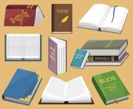 El ejemplo colorido del vector del libro aprende el libro de texto abierto y cerrado del estudio de la literatura de la educación Imágenes de archivo libres de regalías