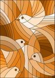 El ejemplo con los pájaros abstractos, sepia del vitral, entona marrón, Imagen de archivo libre de regalías