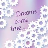 El ejemplo con los sueños de las palabras viene verdad Estrella abstracta blanca Imagenes de archivo