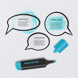 El ejemplo con el marcador realista, con los elementos del highlighter y el discurso burbujea en fondo transparente Vector EPS libre illustration