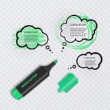 El ejemplo con el marcador realista, con los elementos del highlighter y el discurso burbujea en fondo transparente Vector EPS stock de ilustración