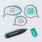 El ejemplo con el marcador realista, con los elementos del highlighter y el discurso burbujea en fondo transparente Vector EPS ilustración del vector
