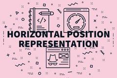 El ejemplo conceptual del negocio con las palabras horizontales postula ilustración del vector