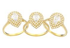 el ejemplo 3D aisló el anillo de diamante decorativo de la pera del oro tres Imagen de archivo