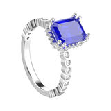 el ejemplo 3D aisló el decorativ de los diamantes del oro blanco o de la plata Imagen de archivo libre de regalías