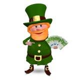 el ejemplo 3D de St Patrick con euro vira ilustración del vector