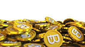 el ejemplo 3D del bitcoin acuña caer en un fondo blanco Fotografía de archivo