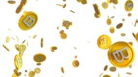 el ejemplo 3D del bitcoin acuña caer en un fondo blanco Fotos de archivo