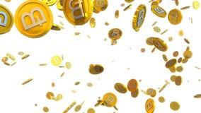 el ejemplo 3D del bitcoin acuña caer en un fondo blanco Imagen de archivo