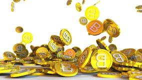 el ejemplo 3D del bitcoin acuña caer en un fondo blanco Imagenes de archivo