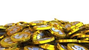 el ejemplo 3D del dólar acuña caer en un fondo blanco Imagen de archivo libre de regalías