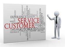 hombre de negocios 3d y wordcloud del servicio de atención al cliente stock de ilustración