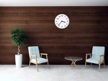 el ejemplo 3D del interior de la sala de espera rinde Fotografía de archivo libre de regalías