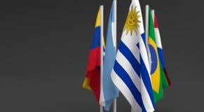 El ejemplo 3d rinde, las banderas de los cinco países del bloque económico de Mercosul ilustración del vector