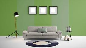El ejemplo de alta resolución 3d con verde y se descolora fondo y los muebles de la pared del color verde libre illustration
