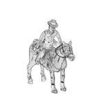 El ejemplo de antiguo enrolla para arriba al vaquero del juguete de la lata con el caballo libre illustration
