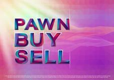 El ejemplo de compra-venta del vector del empeño colorido de la palabra Fotos de archivo libres de regalías