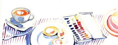 El ejemplo de dibujo dibujado mano de la pintura de la acuarela detalló la opinión superior sobre lugar de trabajo del arte mod ilustración del vector