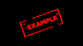 El ejemplo de goma rojo del sello de la tinta firmado enfoca adentro y enfoca hacia fuera con los fondos de la transparencia del  stock de ilustración