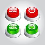 El ejemplo de hace clic aquí el icono del botón de encendido  Fotos de archivo libres de regalías