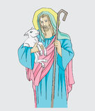 El ejemplo de Jesus Christ es el buen pastor, diseño del vector del arte stock de ilustración